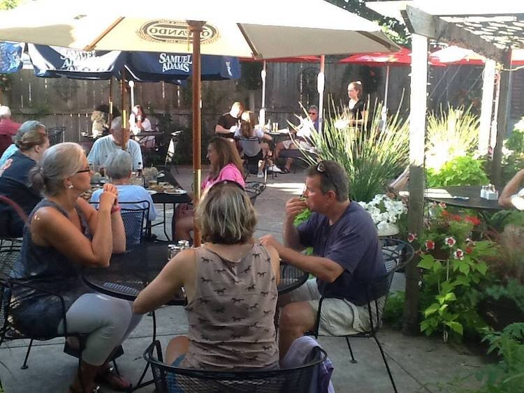 On a nice day, Scotti's back patio often is more crowded than the indoor dining area.