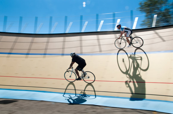 Gary Burkholder and Mike Evans riding the Cleveland Velodrome