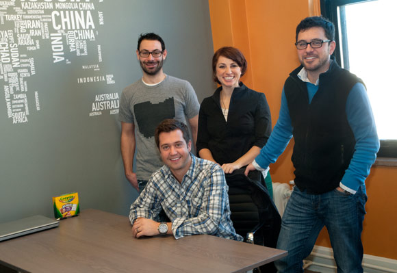 L-R: Dan Klammer, Eric Bockmuller (seated), Gina Prodan and Robert Hatta of the online content creation company Tackk