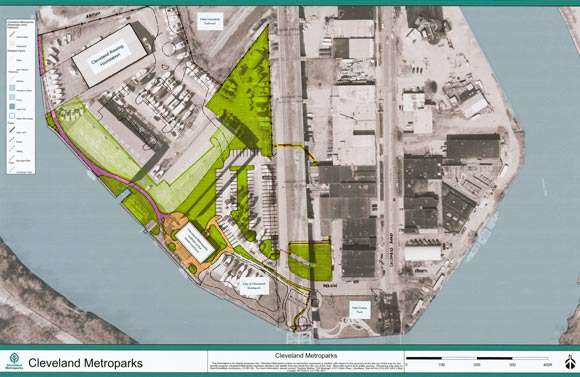 Rendering of the 2.8-acre parcel in the center of Cleveland's Flats District known as Rivergate Park that will become part of the Park District - courtesy of the Cleveland Metroparks
