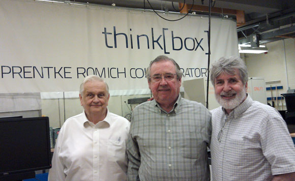 Thinkbox major donor Barry Romich (right) along with major donors JB Richey and Mal Mixon whose names will adorn the Richey-Mixon Building at Case, the future home of Thinkbox