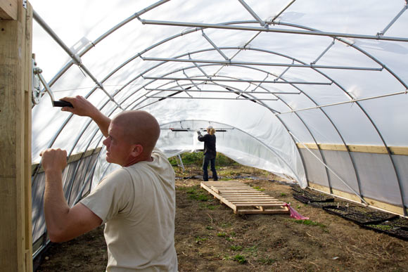 Frank Allender employee of Tunnel Vision Hoops works on a hoop house in Ohio City (Co-owner Todd Alexander in the background)