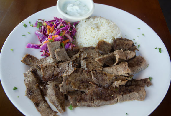 D�ner - Marinated mixture of beef and lamb, cooked on a rotating spit then thinly sliced
