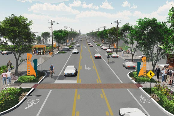 Rendering of the Fleet Avenue green and complete street - courtesy GreenCityBlueLake Institute