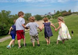 Near West Family Network kids race down Edgewater hill