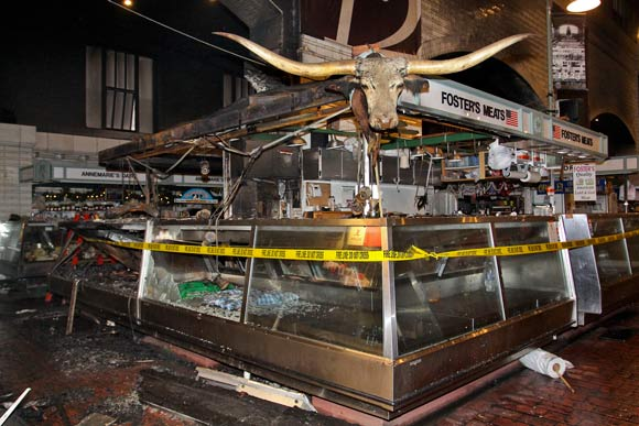 Aftermath of the fire inside the West Side Market - photo Ruggero Fatica, City of Cleveland