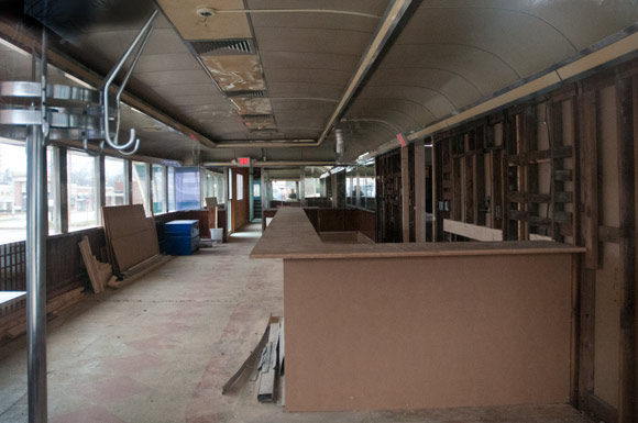 Inside of the future Katz Club Diner under renovation