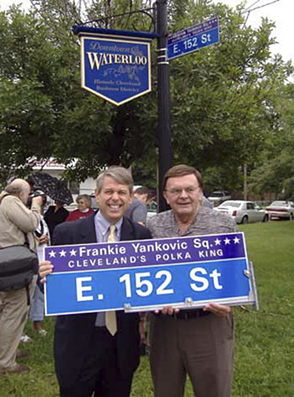 Councilman Mike Polensek and polka radio host Tony Petkovsek dedicating Frankie Yankovic Square in - photo courtesy of ClevelandSeniors.com