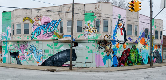 Collinwood Arts District mural at E. 156th and Waterloo by artist Steve Ehret