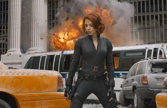 Scarlett Johansson as Black Widow in The Avengers movie. � 2011 MVLFFLLC.  TM & � 2011 Marvel.  All Rights Reserved.