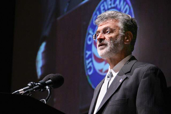 Cleveland Mayor Frank Jackson addresses the particpants at the 2012 edition of Sustainable Cleveland 2019.