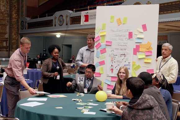 Participants share ideas at the 2012 installment of Sustainable Cleveland 2019.