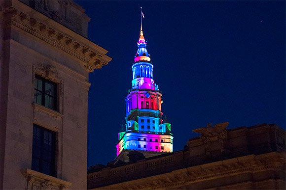The Terminal Tower lit up for the Gay Games