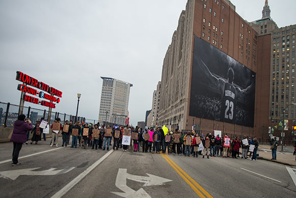 Cleveland Protests under the Lebron mural