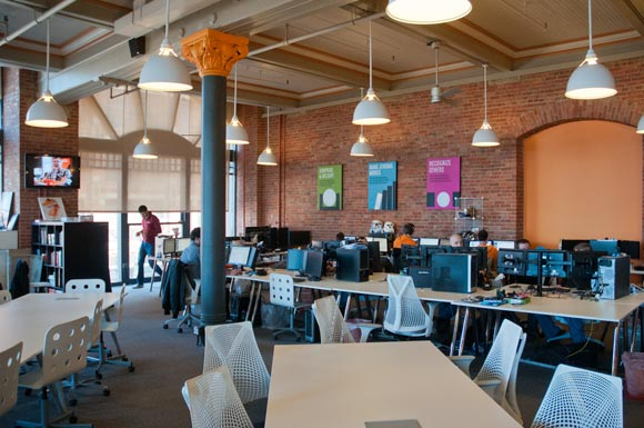 collaborative office space. Forget The Corner Office: Cleveland\u0027s Hottest Workspaces Are Open, Collaborative, Connected Collaborative Office Space G