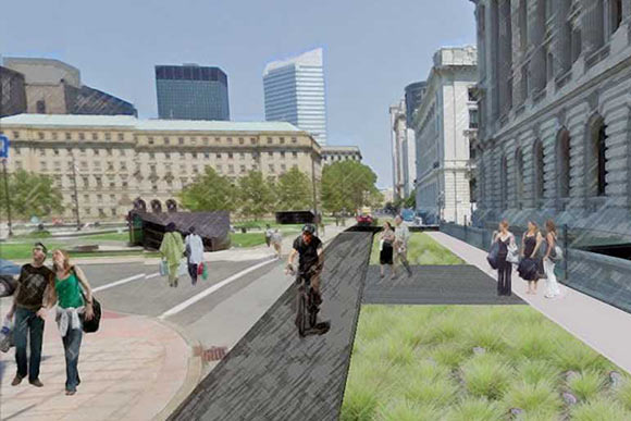 Rendering of cycling greenway along Rockwell linking Public Square to the Malls