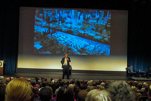 Rick Steves presenting his latest book at the Breen Center for the Performing Arts