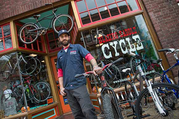 Travis Peebles, co-owner of Blazing Saddle Cycle - east side location