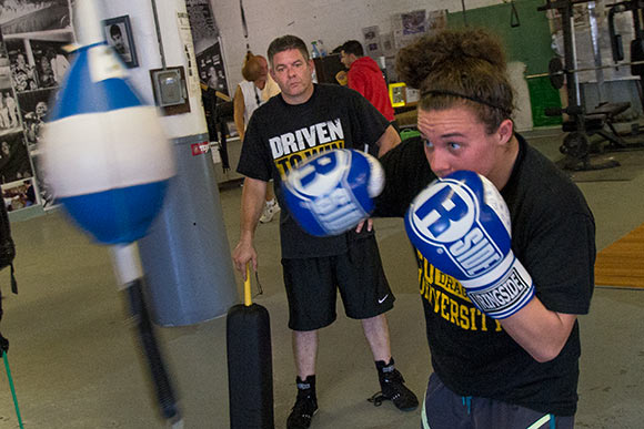 Boxer Sarah Judy training with Joe Santa Maria