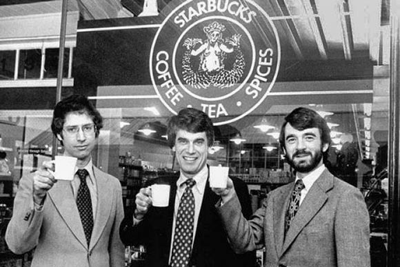 Starbucks Coffee founders, Zev Siegl, Jerry Baldwin and Gordon Bowker outside their store in 1979