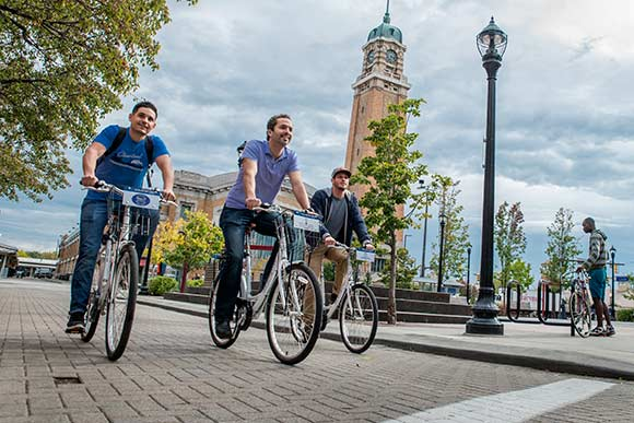 Justin Carson, Sam McNulty and Justin Beretelone riding on Zagster in Ohio City