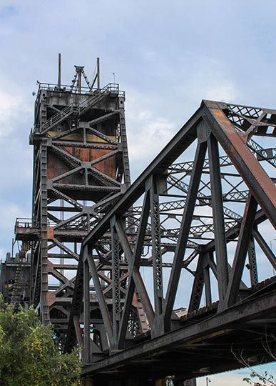 Historic railroad bridge in Flats