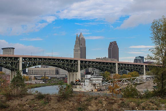 View of the city from Riverbed along the planned Lake Link Trail