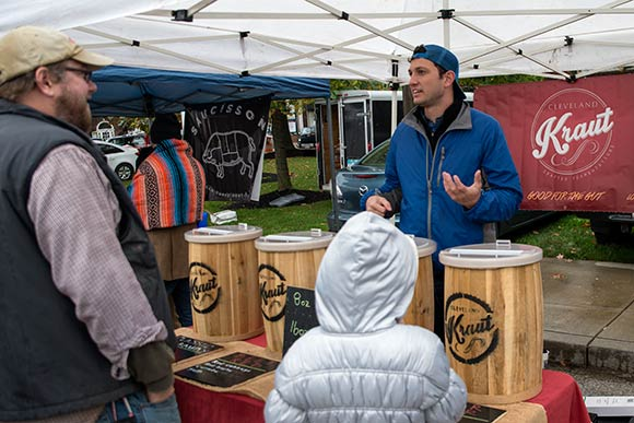 Drew Anderson of Cleveland Kraut at the Shaker Square Farmers Market
