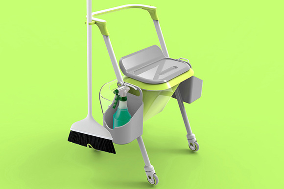 Geemay Chia's award-winning design for a cleaning caddy/walker to help disabled people with housework