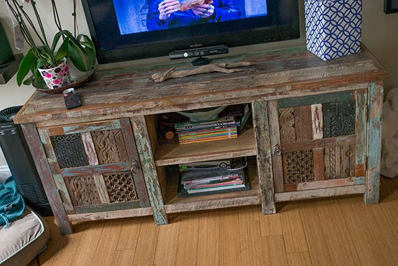 Reclaimed wood entertainment stand created by Jeff of (ARC)form - Reclaiming Pieces From The Past