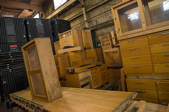 Science lab cabinets at Old School Architectural Salvage Project
