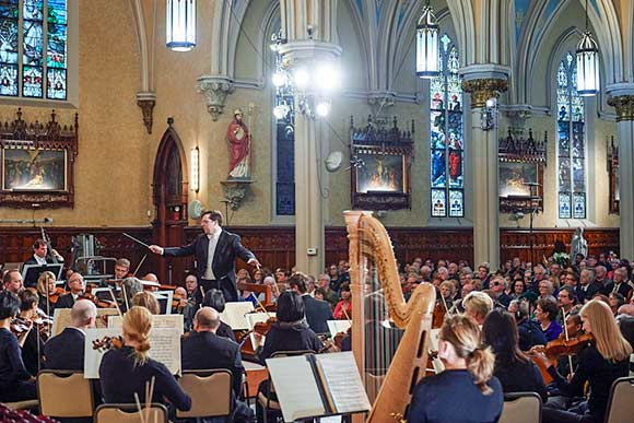 James Feddeck conducting The Cleveland Orchestra at Our Lady of Lourdes Church