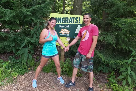 Paulina Cazares and  Joel Bolanos after finishing the Go Ape treetop course, Mill Stream Run Reservation