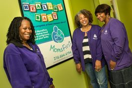 Bridjetta Levison, Crystal Calhoun and Angela Gober-Woodson withe the Moms First program at The May Dugan Center