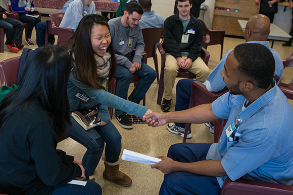 CWRU students and Inmates hold conversations and discussions amid breakout groups