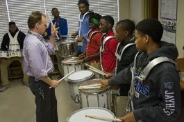 Aeneas Alldredge's drum class at John F. Kennedy High School's E³agle Academy