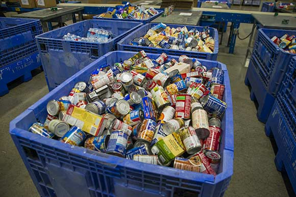 Bins of food at The Greater Cleveland Food Bank