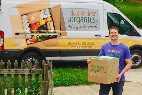 Door to Door Organics is available in Colorado, Michigan, Chicago, Kansas City and the Tri-State area. The basic idea behind Door to Door Organics is that weekly or bi-weekly you choose which size box of produce you would like delivered to your home.
