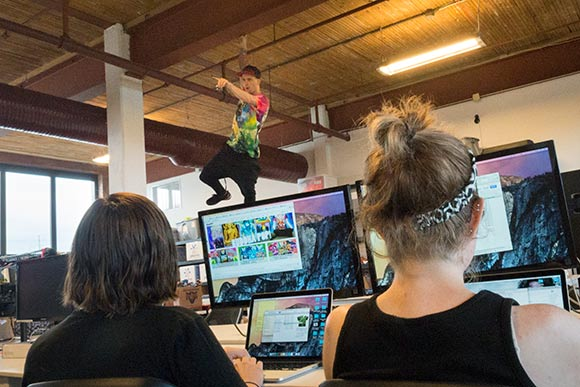 Rage On Art Director, Mat Poprocki likes hanging around the office