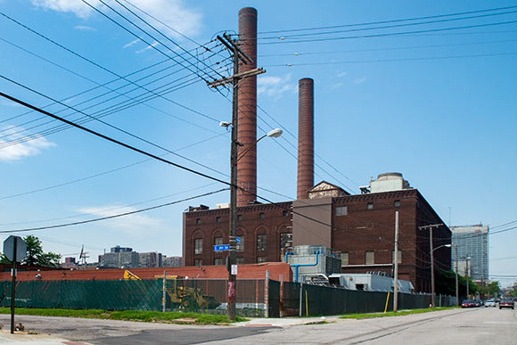 The towering smokestacks of Cleveland Thermal on Hamilton Ave