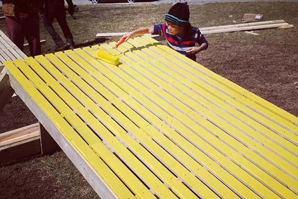 Painting Stoop Slides at Britt Oval