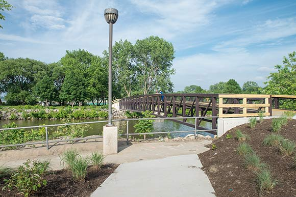 New pedestrian bridge at Euclid Beach Park