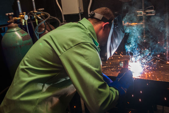 Welding training at Tri-C's Advanced Technology Training Center