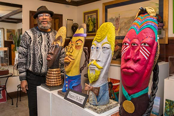 Master Artist and retired professor Ed Parker of Snickerfritz Cultural Workshop for the Arts