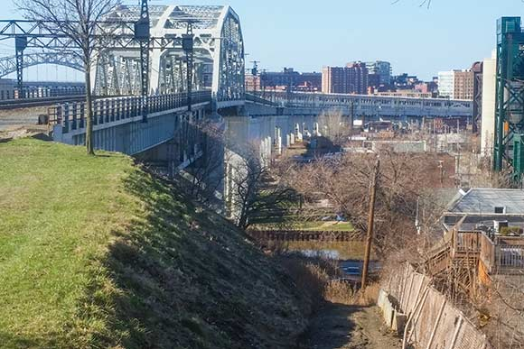 View of the Cuyahoga Viaduct and the trail to Hoopples which will access the Red Line Greenway