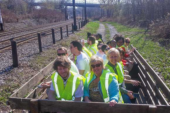 Hayride tour for high school volunteers and their parents