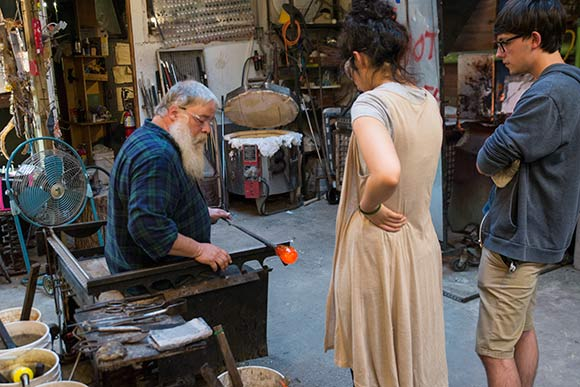 Glass blowing classes are a popular activity at the Glass Bubble Project