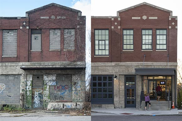 The entrance to the Tremont Athletic Club now (right) and in 2012 before restoration of the Creamery