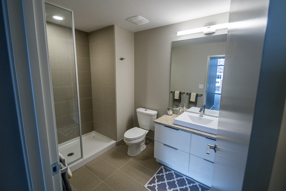 Master bathroom in a unit in the Flats East Bank Apartments