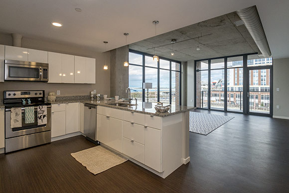 One of the two bedroom  units in the Flats East Bank Apartments